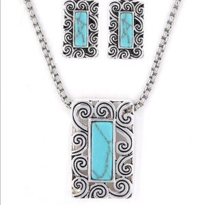 Textured Swirled Silver-tone Necklace & Earrings